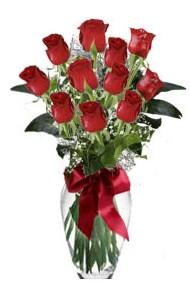 11 adet kirmizi gül vazo mika vazo içinde  Şanlıurfa çiçekçi mağazası
