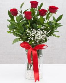 cam vazo içerisinde 5 adet kırmızı gül  Şanlıurfa ucuz çiçek gönder