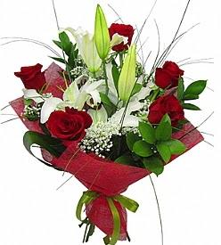 1 dal kazablanka 5 kırmızı gül buketi  Şanlıurfa online çiçek gönderme sipariş