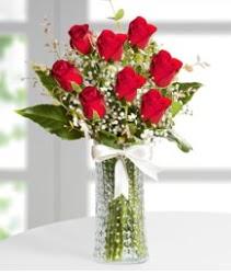 7 Adet vazoda kırmızı gül sevgiliye özel  Şanlıurfa İnternetten çiçek siparişi