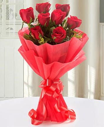 9 adet kırmızı gülden modern buket  Şanlıurfa anneler günü çiçek yolla