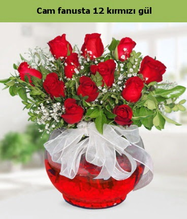 Cam içerisinde 12 adet kırmızı gül  Şanlıurfa çiçek gönderme sitemiz güvenlidir