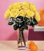Şanlıurfa çiçek gönderme sitemiz güvenlidir  9 adet sari güllerden cam yada mika vazo