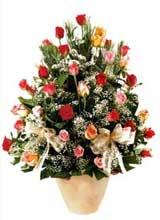 91 adet renkli gül aranjman   Şanlıurfa hediye sevgilime hediye çiçek