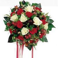Şanlıurfa yurtiçi ve yurtdışı çiçek siparişi  6 adet kirmizi 6 adet beyaz ve kir çiçekleri buket
