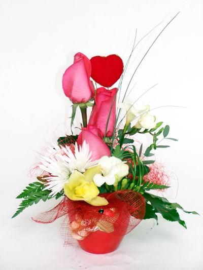 Şanlıurfa yurtiçi ve yurtdışı çiçek siparişi  cam içerisinde 3 adet gül ve kir çiçekleri