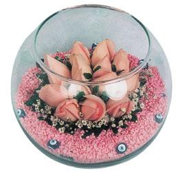 Şanlıurfa çiçek gönderme sitemiz güvenlidir  cam fanus içerisinde 10 adet gül
