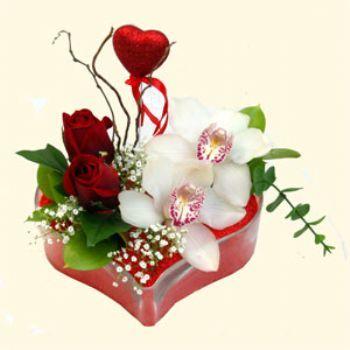 Şanlıurfa internetten çiçek satışı  1 kandil orkide 5 adet kirmizi gül mika kalp
