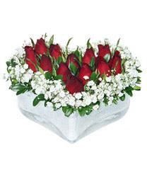 Şanlıurfa çiçek gönderme  mika kalp içerisinde 9 adet kirmizi gül