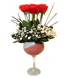 Şanlıurfa çiçek yolla  cam kadeh içinde 7 adet kirmizi gül çiçek