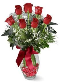 7 adet vazoda gül  Şanlıurfa çiçek gönderme sitemiz güvenlidir  kirmizi gül