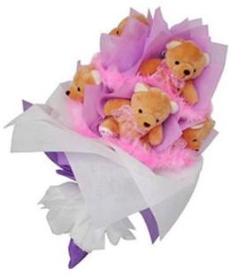 9 adet ayiciktan buket  Şanlıurfa internetten çiçek satışı