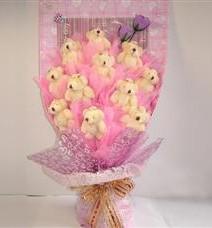11 adet pelus ayicik buketi  Şanlıurfa çiçek online çiçek siparişi