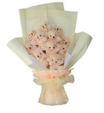 11 adet pelus ayicik buketi  Şanlıurfa yurtiçi ve yurtdışı çiçek siparişi
