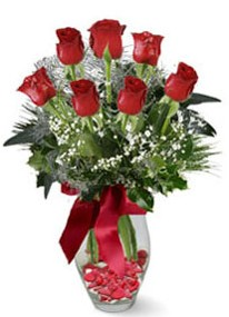 Şanlıurfa çiçek gönderme  7 adet kirmizi gül cam vazo yada mika vazoda