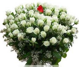 Şanlıurfa çiçek gönderme sitemiz güvenlidir  100 adet beyaz 1 adet kirmizi gül buketi