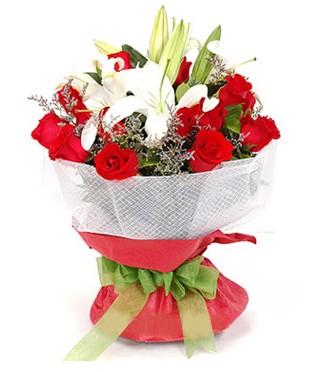 Şanlıurfa online çiçekçi , çiçek siparişi  1 dal kazablanka 11 adet kırmızı gül buketi