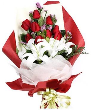Şanlıurfa çiçek yolla  1 dal kazablankaa 9 adet kırmızı gül buketi
