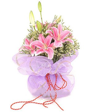 3 dal kazablanka görsel buketi  Şanlıurfa çiçek gönderme sitemiz güvenlidir