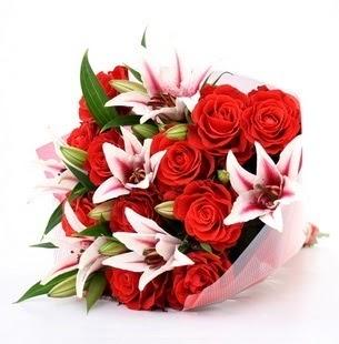 Şanlıurfa çiçekçi telefonları  3 dal kazablanka ve 11 adet kırmızı gül