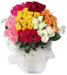 Şanlıurfa çiçek mağazası , çiçekçi adresleri  51 adet farklı renklerde gül buketi