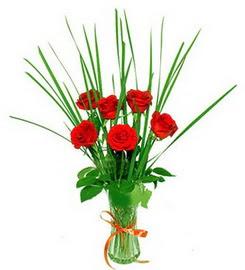 Şanlıurfa güvenli kaliteli hızlı çiçek  6 adet kırmızı güllerden vazo çiçeği