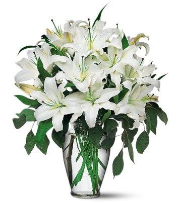 Şanlıurfa çiçek gönderme sitemiz güvenlidir  4 dal kazablanka ile görsel vazo tanzimi