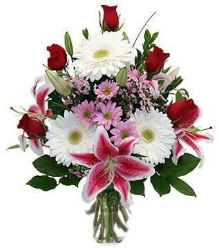 Şanlıurfa çiçek siparişi vermek  1 dal kazablanka 5 gül ve kırçiçeği vazosu