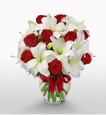 Şanlıurfa online çiçekçi , çiçek siparişi  1 dal kazablanka 11 adet kırmızı gül vazosu