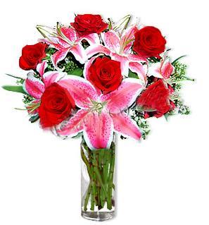 Şanlıurfa çiçek online çiçek siparişi  1 dal cazablanca ve 6 kırmızı gül çiçeği
