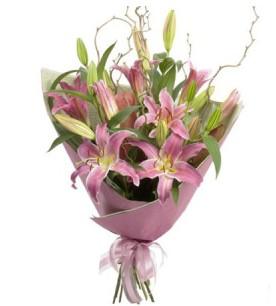 Şanlıurfa anneler günü çiçek yolla  3 dal cazablanca buket çiçeği