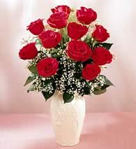 Şanlıurfa çiçek yolla , çiçek gönder , çiçekçi   9 adet vazoda özel tanzim kirmizi gül