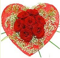 Mika kalp içerisinde 7 adet kırmızı gül  Şanlıurfa çiçek yolla , çiçek gönder , çiçekçi