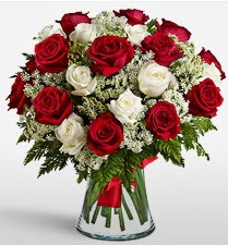 Vazoda 12 kırmızı 12 beyaz gül tanzimi  Şanlıurfa hediye çiçek yolla