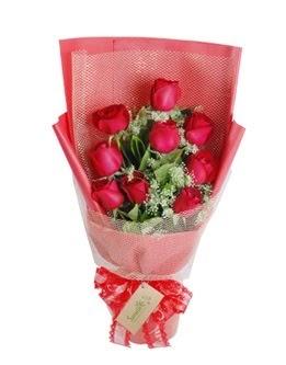 9 adet kırmızı gülden görsel buket  Şanlıurfa yurtiçi ve yurtdışı çiçek siparişi