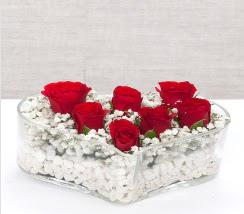 kalp içerisinde 7 adet kırmızı gül  Şanlıurfa çiçekçi telefonları