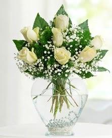 Cam içerisinde 7 adet beyaz gül  Şanlıurfa ucuz çiçek gönder
