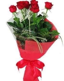 5 adet kırmızı gülden buket  Şanlıurfa online çiçek gönderme sipariş