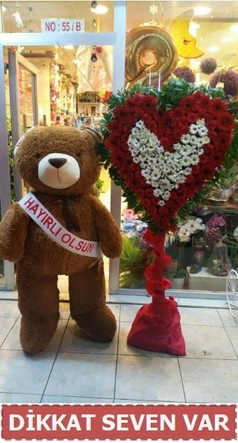 1.5 Metre peluş ayı ve Kalp  Şanlıurfa hediye sevgilime hediye çiçek