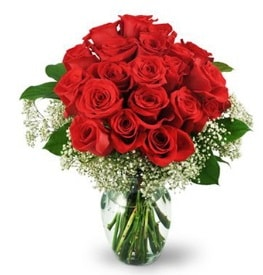 25 adet kırmızı gül cam vazoda  Şanlıurfa güvenli kaliteli hızlı çiçek