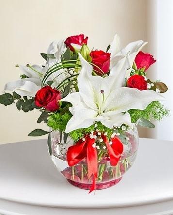 Fanus Vazoda 2 Lilyum ve 5 Gül Dansı  Şanlıurfa çiçek servisi , çiçekçi adresleri