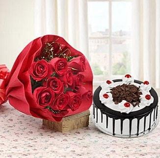 12 adet kırmızı gül 4 kişilik yaş pasta  Şanlıurfa güvenli kaliteli hızlı çiçek