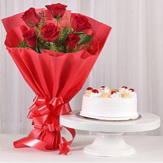 6 Kırmızı gül ve 4 kişilik yaş pasta  Şanlıurfa güvenli kaliteli hızlı çiçek