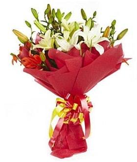 5 dal kazanlanka lilyum buketi  Şanlıurfa hediye sevgilime hediye çiçek