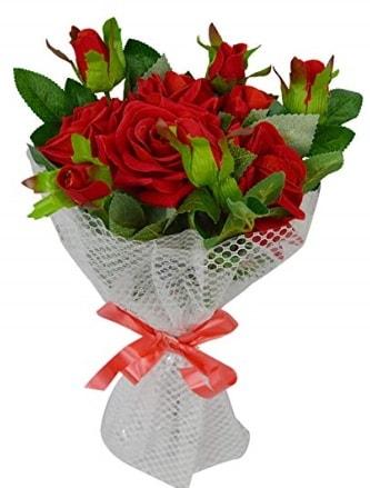 9 adet kırmızı gülden sade şık buket  Şanlıurfa çiçek mağazası , çiçekçi adresleri