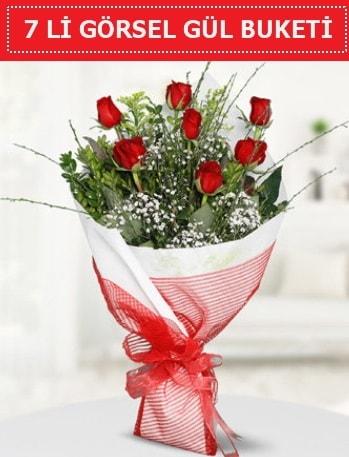 7 adet kırmızı gül buketi Aşk budur  Şanlıurfa kaliteli taze ve ucuz çiçekler