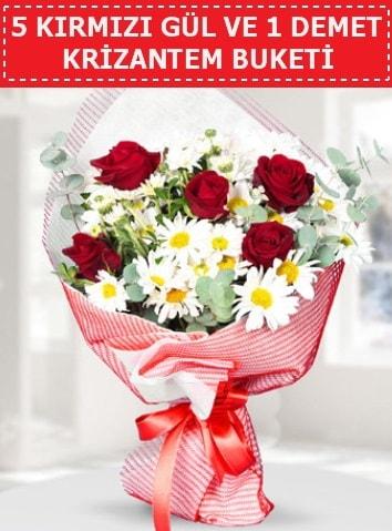 5 adet kırmızı gül ve krizantem buketi  Şanlıurfa kaliteli taze ve ucuz çiçekler