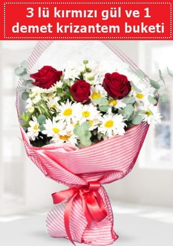 3 adet kırmızı gül ve krizantem buketi  Şanlıurfa hediye sevgilime hediye çiçek