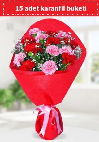 15 adet karanfilden hazırlanmış buket  Şanlıurfa ucuz çiçek gönder