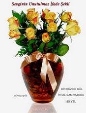 Şanlıurfa çiçek gönderme sitemiz güvenlidir  mika yada Cam vazoda 12 adet sari gül